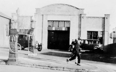 Black and White photo taken in 1925 of the Kew garage