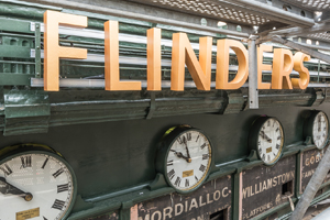 Image of the restoration of the clocks and sign at Flinders St station