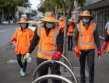 Crew cleaning the streets